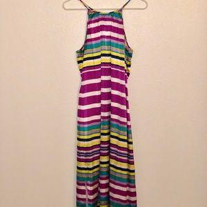CREMIEUX Silky Stripped Maxi Dress